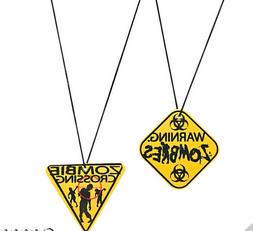 Novelty Toy Gift Kids Zombie Warning Sign Necklaces Lot of 4