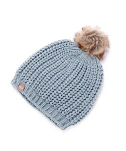 NWT Peppercorn Kids Girls' Blue Chunky Knit Pompom Hat $24 -