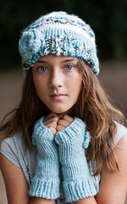 NWT Peppercorn Kids Girls' Blue Flower Beanie Hat $19 - Choo