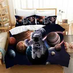 Outer Space Duvet Cover Set Astronaut Bedding Set for Kids B