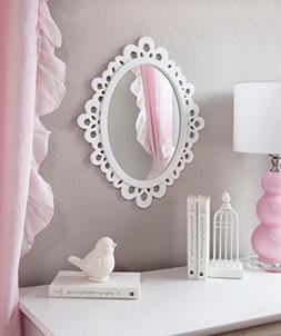 Decorative Oval Wall Mirror, White Wooden Frame for Bathroom