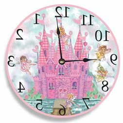 The Kids Room by Stupell Pink Castle with Faries Wall Clock