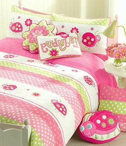 Cozy Line Home Fashions 5-Piece Pink Ladybug Quilt Bedding S