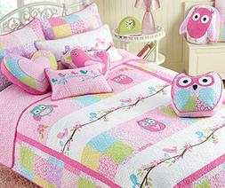 Cozy Line Home Fashions Cute Owl Pink Blue Green Birds Print