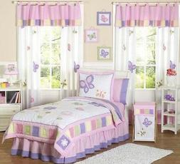 Pink and Purple Butterfly Collection Childrens Bedding 4pc T