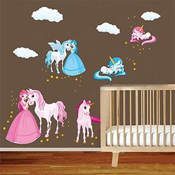 DecalMile Princess and Unicorn Wall Stickers Girls Wall Deca