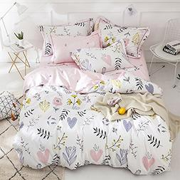 ORoa Soft Cotton Cartoon Pink Floral Duvet Cover Queen for G