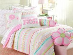 Cozy Line Home Fashions 6-Piece Quilt Bedding Set, Pink Gree