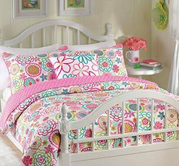Cozy Line Home Fashions 2-Piece Quilt Set, Mariah Pink Polka