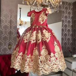 Red Kids Girls Dress Birthday Party Princess Wedding Bridesm