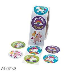 Roll of 100 Unicorn Rainbow Girls Stickers Birthday Party Fa
