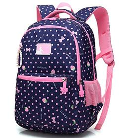 Kid Girl School Backpack Water Resistant Elementary Dot Book