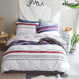 Enjoylife Simple Duvet Cover Printed Stripes Reversible Bedd