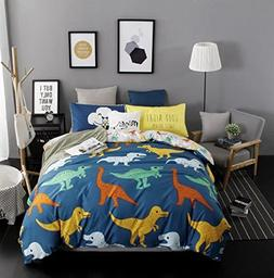 DeerHome Soft Children Duvet Cover Set dinosaur pattern Reve