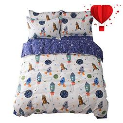 BuLuTu Space Rocket Print Cotton Boys Bedding Duvet Cover Se
