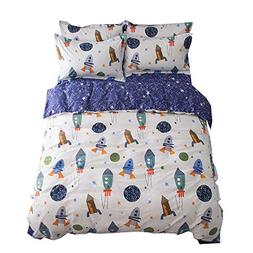 BuLuTu Space Rocket Print Cotton Boys Duvet Cover Sets Twin