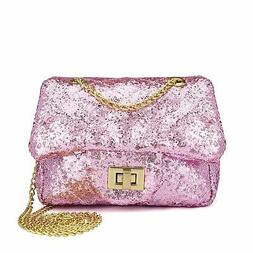 Sparkly Glitter Toddler Kids Purse for Girls Quilted Little