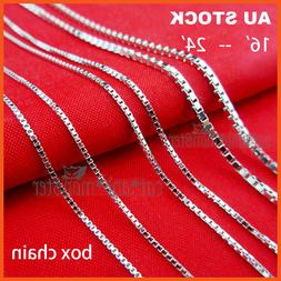 STERLING SILVER SF WOMENS GIRLS KIDS PLAIN BOX LINK CHAIN NE
