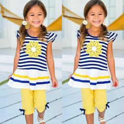 Summer Kids Baby Girls Outfits Clothes T-shirt Tops+Short Pa