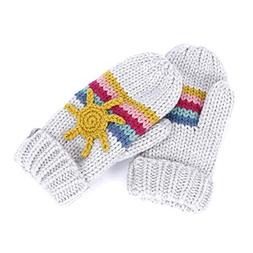 Sun & Rainbow Mittens  - Heather Grey - LXL