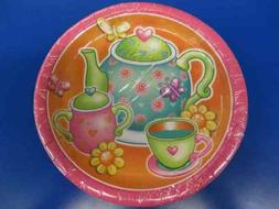 "Tea for You! Pink Orange Girls Cute Kids Birthday Party 9"" P"
