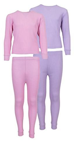 Sweet & Sassy Girl's 2-Pack Thermal Warm Underwear Top and P