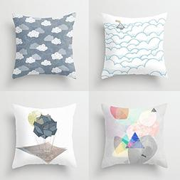 4 Pack Throw Pillow Covers for Teen Girls Microfiber Decorat