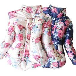 Toddler Baby Girl Floral Hooded Coat Outwear Kids Jackets Wa