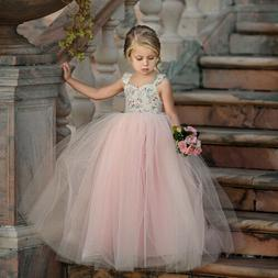 Toddler Flower Girl Princess Dress Kids Baby Party Wedding L