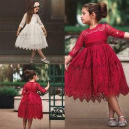 Toddler Kids Baby Girl Lace Flower Tulle Half Sleeve Princes