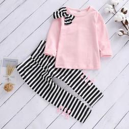 ❤️ Toddler Kids Baby Girls Clothes Striped T Shirt Tops