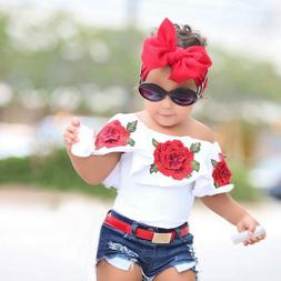 toddler kids baby girls outfits flower rose