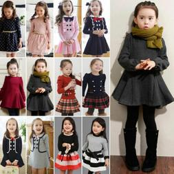 Toddler Kids Baby Girls Winter Skater Dress Long Sleeve Part