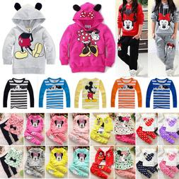 Toddler Kids Girl Mickey Minnie Hoody T-shirt Tops Outfits S