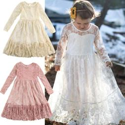 Toddler Kids Girls Princess Lace Dress Wedding Party Formal