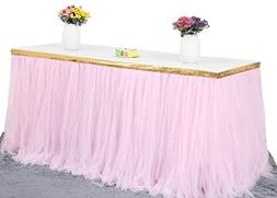 Fluffy 4ft Pink Tulle Table Skirt Set With Gold Trim for Wed