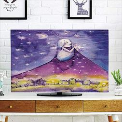 YCHY LCD TV dust Cover,Girls,Fictional Lady Stands in The Sk