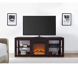 TV Stand With Electric Fireplace Console Media Entertainment