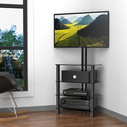 Fitueyes TV Stand with Mount For up to 88Ibs Tempered Glass