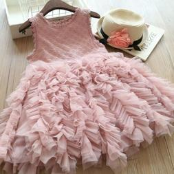 US Fancy Kids Baby Girl Flower Dress Lace Tutu Party Gown Pa