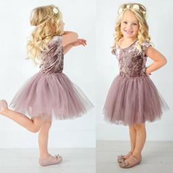 US Stock Kids Baby Girls Velvet Tutu Lace Dress Toddler Prin