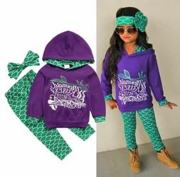 USA Boutique Mermaid Kids Girls Hooded Tops Pants Outfits 3P