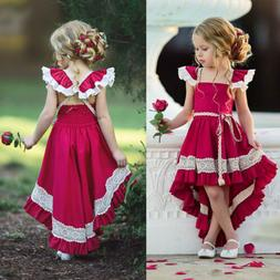 USA Kids Girls Party Bow Princess Dress Flower Wedding Bride