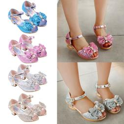 USA Kids Girls Princess Sandals Wedding Shoes Bowknot High H