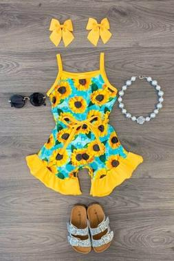 usa toddler kid baby girls sunflower romper