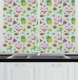 Vintage Kids Kitchen Curtains 2 Panel Set Window Drapes 55""