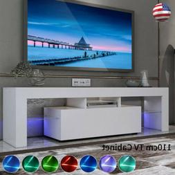 White High Gloss TV Stand Console Cabinet w/ LED Living Room