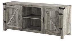 New 58 Inch Wide Barn Door Television Stand in Grey Wash Fin