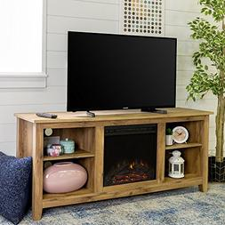 New 58 Inch Wide Honey Colored Television Stand with Firepla