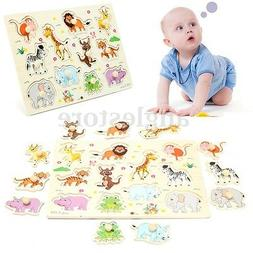 Zoo Animal Wooden Hand Puzzle Toy Children Kids Baby Learnin